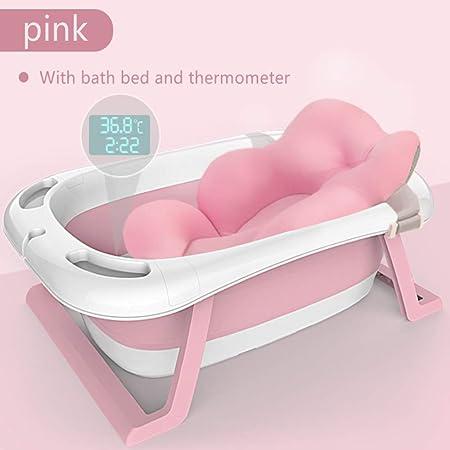 Bañera inteligente con sensor de temperatura para niños cama de baño para niños aumento de suministros para bebés recién nacidos bañera plegable para bebés (rosa)