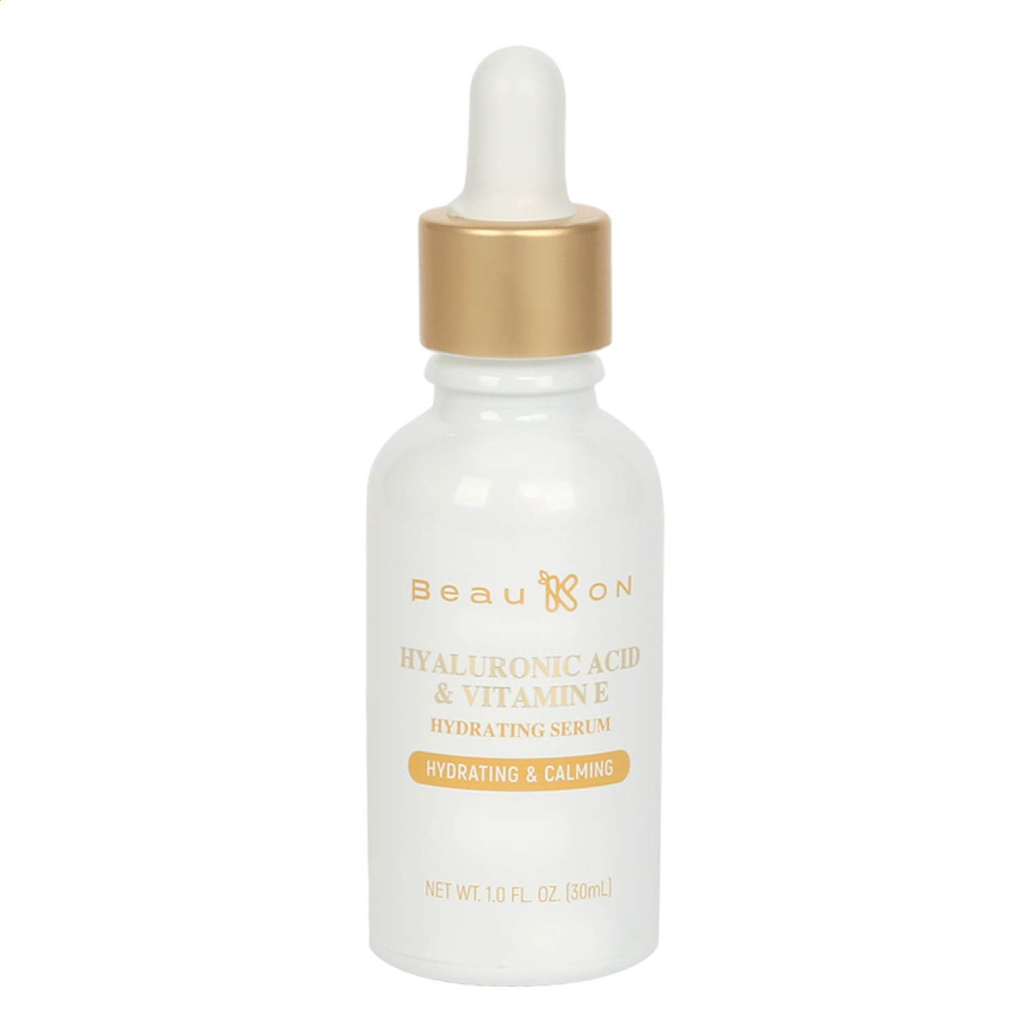 BeauKON Hyaluronic Acid and Vitamin E Hydrating Serum for Face, Hydrating and Calming, Anti Aging Intense Hydration and Moisture for Plump Smooth Skin (1.0 Fl. Oz.)
