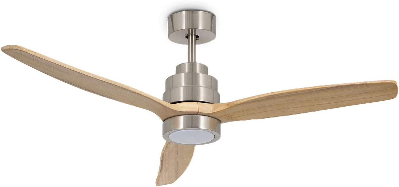 IKOHS WINDLIGHT Nickel - Ventilador de Techo 40W DC Reverse con Luz (Madera Natural)