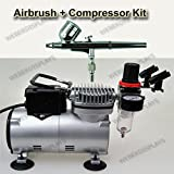 Pro One Double-Action Airbrush & Compressor Kit Dual-Action Air Brush Set, Regulator