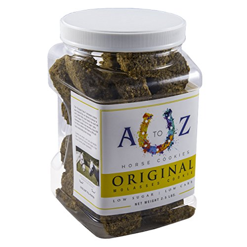 Horse Cookie Treat: Original Flavor by A to Z Horse Cookies, Low Carb Low Sugar Softer Treats, Organic, Great For All Horses And Excellent For Those With Metabolic Conditions, 2.5 lbs Jar ()