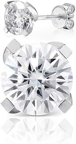 TransGems Moissanite 1.0ctw HI Colorless, Screw Back 14K White Gold Round 4 Prong Stud Earrings