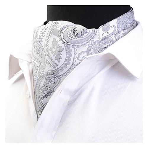 (GUSLESON Men's Silver Cravat Self Tie Paisley Jacquard Woven Floral Luxury Ascot (0602-03))