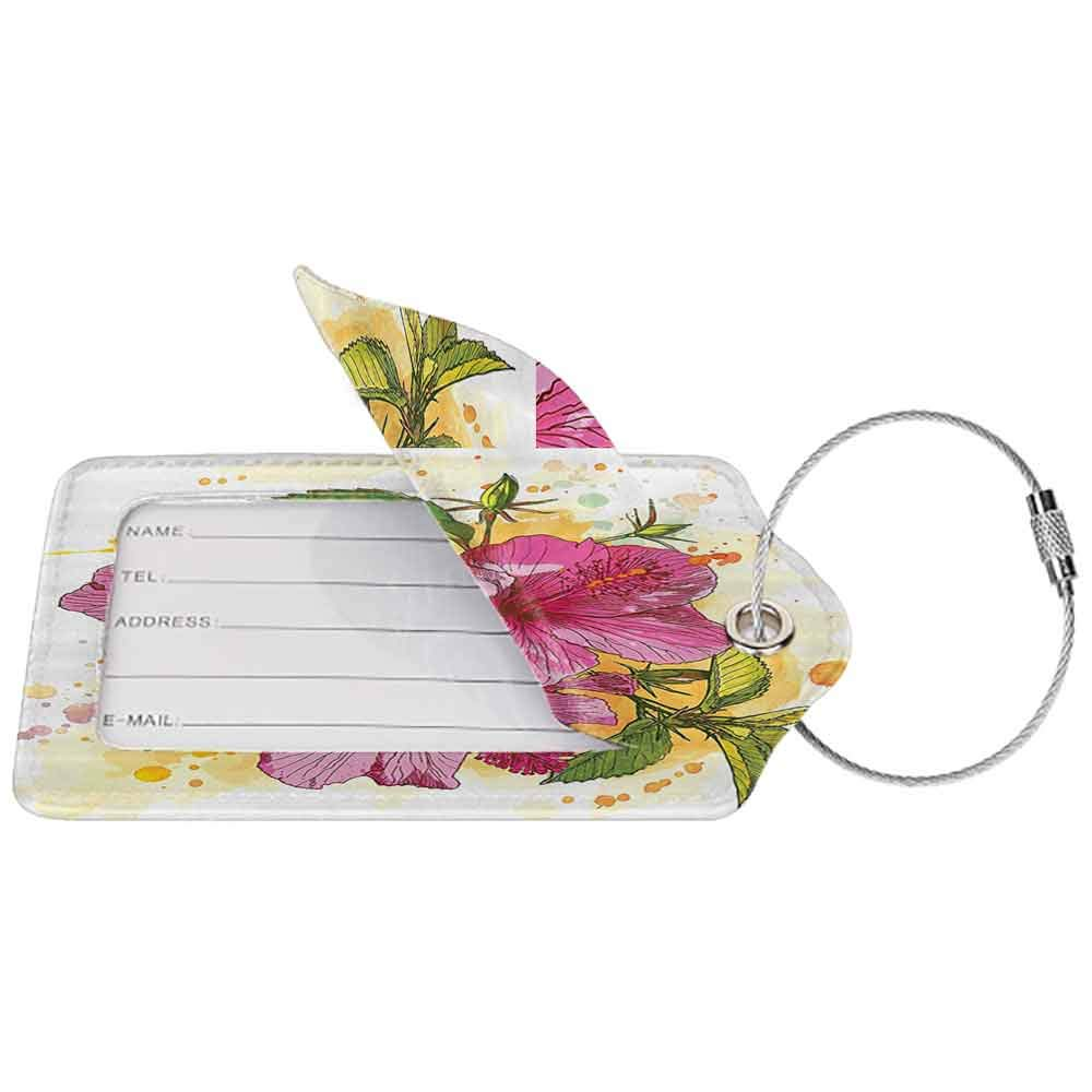 Soft luggage tag Floral Vibrant Hibiscus Flower Bouquet Exotic Elegance Watercolor Art Bendable Fuchsia Green Earth Yellow White W2.7 x L4.6