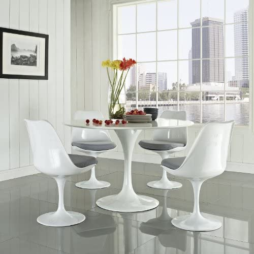 Modway Lippa 48 Mid-Century Modern 5-Piece Kitchen and Dining Set with Round Table and Four Dining Chairs with Upholstered Gray Fabric Seat Cushion