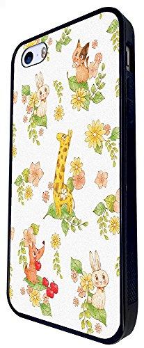 1310 - Cool Fun Trendy Cute Kawaii Colourful Floral Flowers Collage Dog Bunny Giraffe Design iphone SE - 2016 Coque Fashion Trend Case Coque Protection Cover plastique et métal - Noir