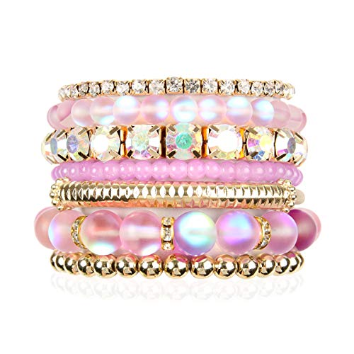 (RIAH FASHION Multi Color Stretch Beaded Stackable Bracelets - Layering Bead Strand Statement Bangles (Mermaid Glass - Lavender Purple, 7))