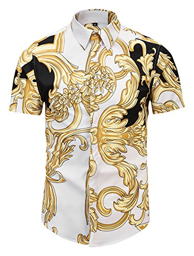 Print Jersey Sweatshirt - PIZOFF Mens Luxury Short Sleeve Gold Flowers Leave Florlal Button Down Dress Shirt AL003-45-M