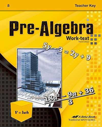 Abeka PreAlgebra Teacher Key, 3rd Edition - for sale  Delivered anywhere in USA