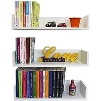 3 Prateleiras 60cm x 20cm x 11,5cm para livros e decoração -100% MDF Branco