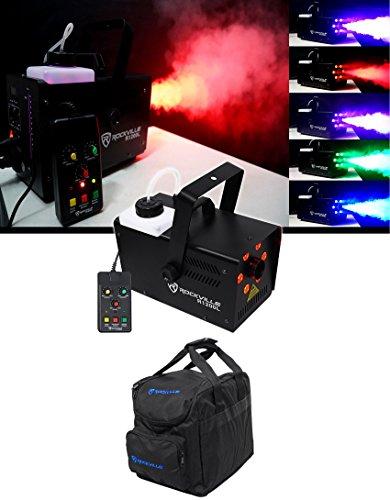 Rockville R1200L Fog/Smoke Machine w LED Lights/Strobe, DMX+2 Remotes+Carry Bag ()
