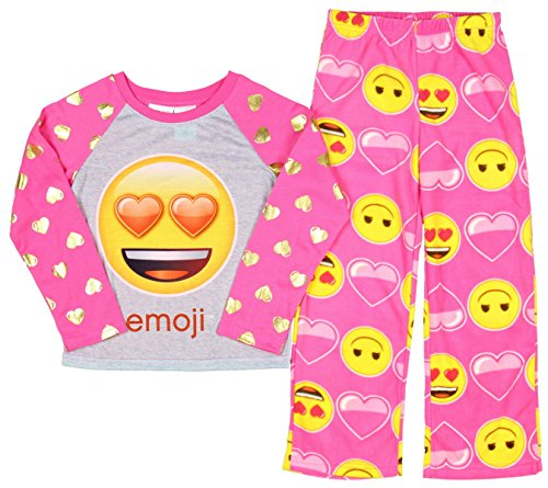 Emoji Emoticon Girls 2 Piece Fleece Long Sleeve Pink Valentines Day Pajama Set (6/6X)