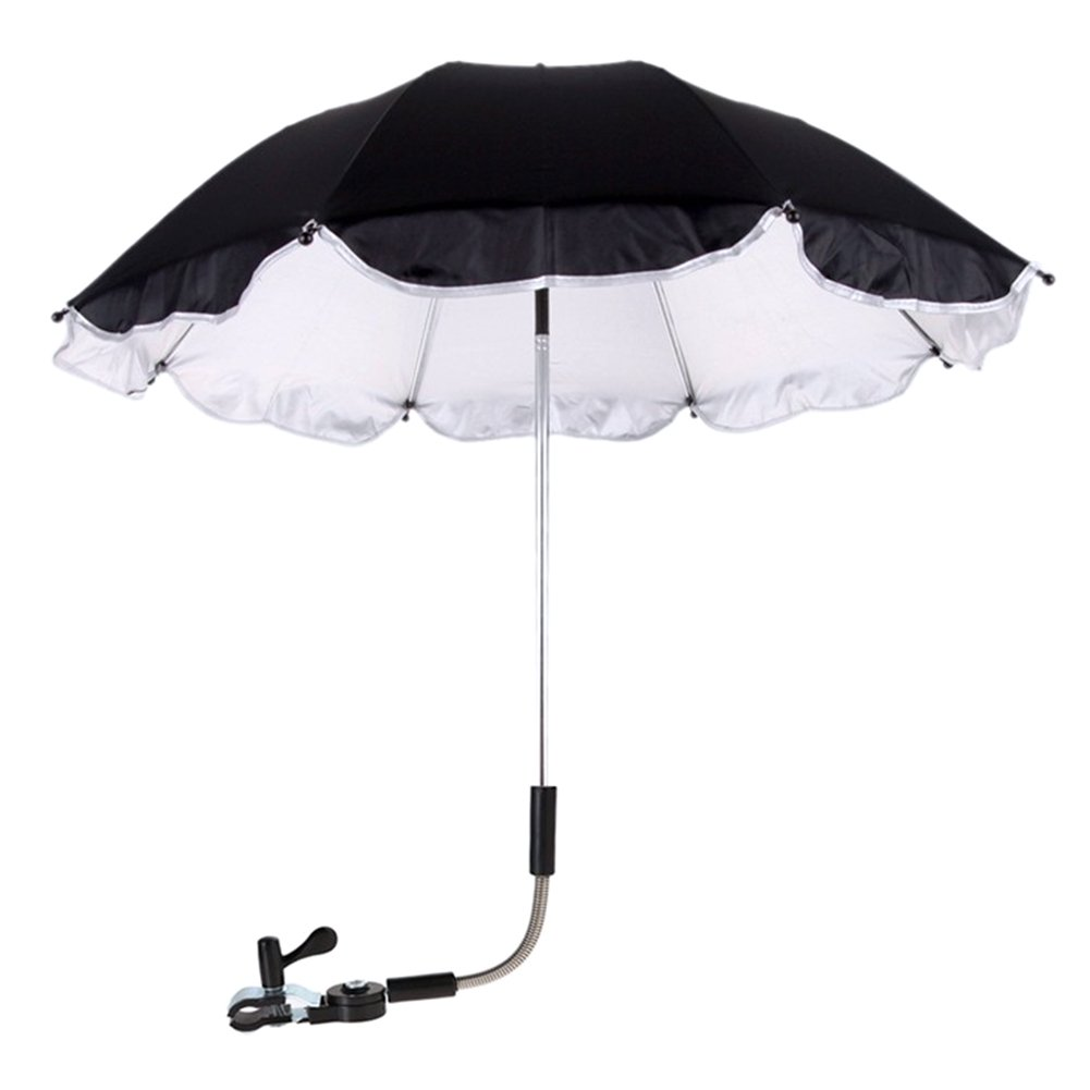 RoseSummer Pushchair Baby Stroller Umbrella and Holder UV Rays Rain Sun Canopy (Black)