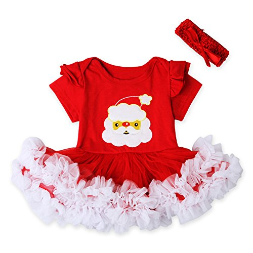[Newborn Baby Girl Christmas Santa Romper Tutu Dress Headband Outfit Clothes Set (0-3 Month, Red)] (Christmas Outfits Women)