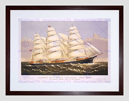 - Paintings Three Brothers Clipper Ship SAIL MAST SEA Framed Art Print B12X9946