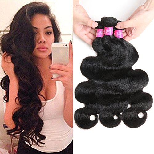 ISEE Hair 8A Unprocessed Brazilian Virgin Body Wave Human Hair One Bundles 100% Unprocessed Human Hair Extensions Natural Black