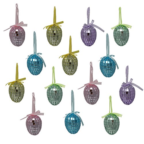 Gift Boutique 24 Pack Mirrored Hanging Easter Egg Ornaments Spring Decorations 2 1/2