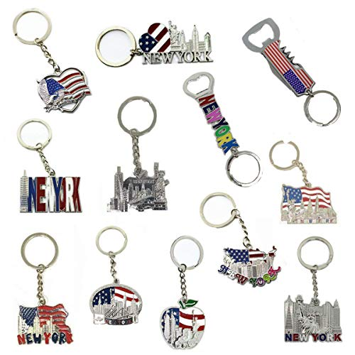 (12 Pack New York NYC Metal Keychain Ring Bundle Souvenir Collection, Gift Set - Includes Empire State, Freedom Tower, Statue Of Liberty, USA Flag, And More)