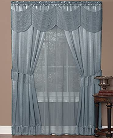 Halley Satin 6-Piece Window Set with Austrian Valance, Ice Blue, 56x84 Inches Achim Importing Inc