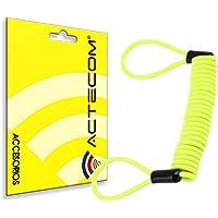actecom Cable Enrollado para candado de Moto recordatorio para candados de Moto Amarillo Espiral para Motos