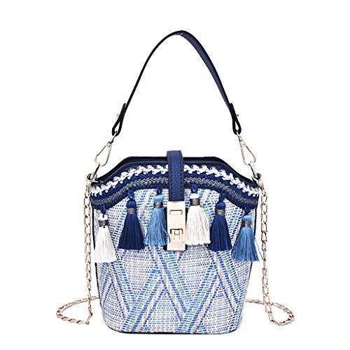 - Women Straw Bags Handmade Weave Multiple Tassels Geometric Pattern Handle Handbag Satchel Casual Bucket Bag Travel Tote Bag Shoulder Bags