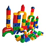 Jerryvon Classic Plastic Building Blocks and Bricks Toys Construction Stacking Puzzles Early Educational Learning Play Sets for Kids Children Boys Girls 3 4 5 Years Old, 84 Pcs