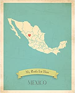 Kid's Wall Map, My Roots Mexico Personalized Wall Map 11x14, Kid's Mexico Map Wall Art, Wall Art Print, Nursery Decor, Nursery Wall Art