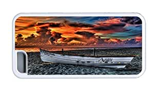 Hipster designer iPhone 5C cases rowboat beach sunset TPU White for Apple iPhone 5C