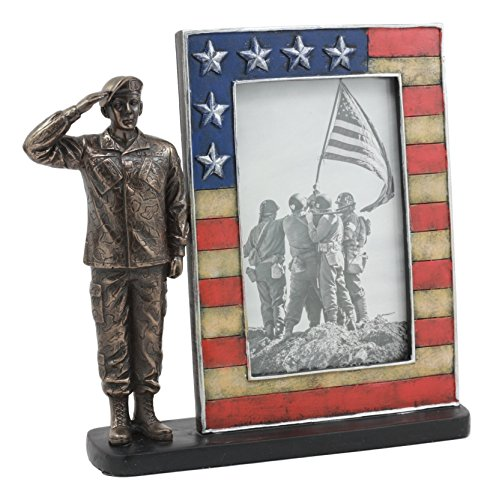 Ebros Military US Army Sergeant Saluting Picture Frame Figurine Decorative Tabletop Picture Frame with US Flag Borders 8