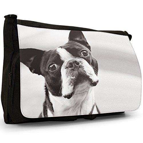 White Boxwood Black Laptop Bag Canvas School Boston Large Terrier amp; Messenger Shoulder Bull xFE6Zw7Agq