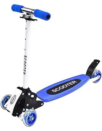 GOTOTOP Plegable Altura Ajustable 4-Rueda Scooter Patinete de Regalo para Niños (Azul)