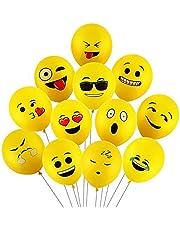 100 قطعة من بالونات الإيموجي ذات اللون الأصفر، 30.48 سم من بالونات اللاتكس العملاقة، للحفلات، أعياد الميلاد، تزيين العطلات