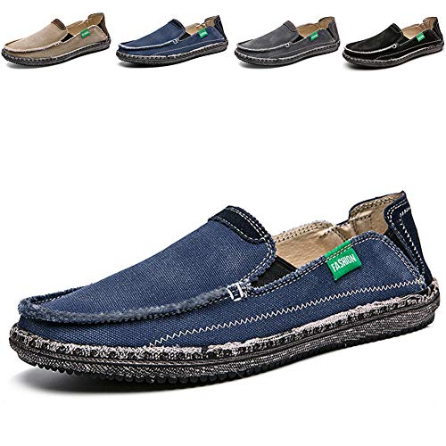 Flat Men Casual Shoes - CASMAG Men's Casual Cloth Shoes Canvas Flat Slip-on Loafers Outdoor Breathable Boat Shoes Blue 2 US 10.5 M