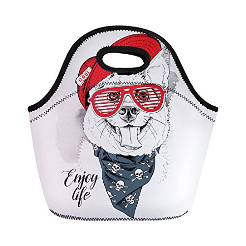 Semtomn Neoprene Lunch Tote Bag Portrait of the Smiling Dog in Red Cap Grill Reusable Cooler Bags Insulated Thermal Picnic Handbag for Travel,School,Outdoors, Work