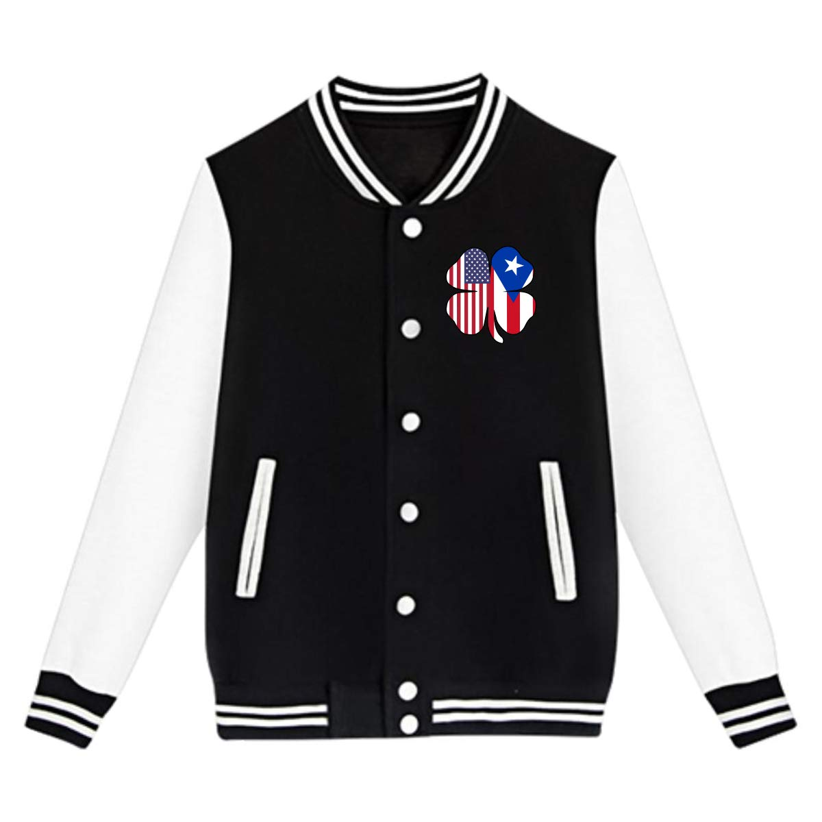 American Puerto Rico Flag Shamrock Sweater Sport Coat Unisex Teen Baseball Uniform Jacket