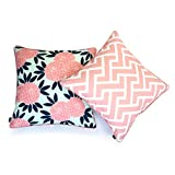 Hofdeco Decorative Throw Pillow Cover Indoor Outdoor Water Resistant Canvas Spring Navy Pink Maze Chinoiserie Floral 18''x18'' Set of 2