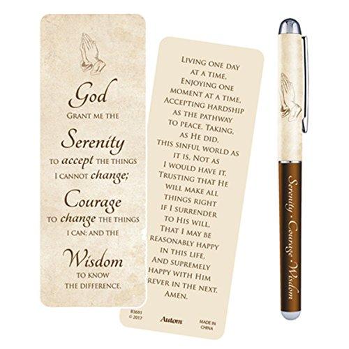 Serenity Prayer Ballpoint Pen with Bookmark Gift Set (Religious Pens)