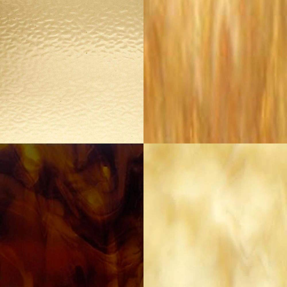 8 x 10 4 Amber Variety Stained Glass Sheets