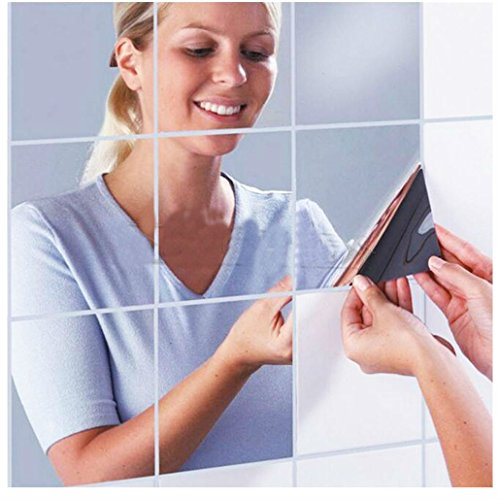 9pcs Square Mirror Tile Wall Stickers Removable Decal - 7