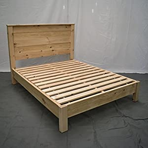 Unfinished Farmhouse Platform Bed w Headboard - Queen/Traditional Platform Frame/Wood Platform Reclaimed Bed/Modern…