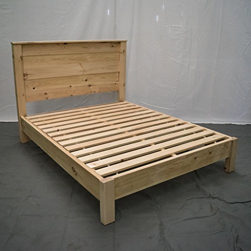 (Unfinished Farmhouse Platform Bed w Headboard - Queen/Traditional Platform Frame/Wood Platform Reclaimed Bed/Modern/Urban/Cottage Platform Bed)