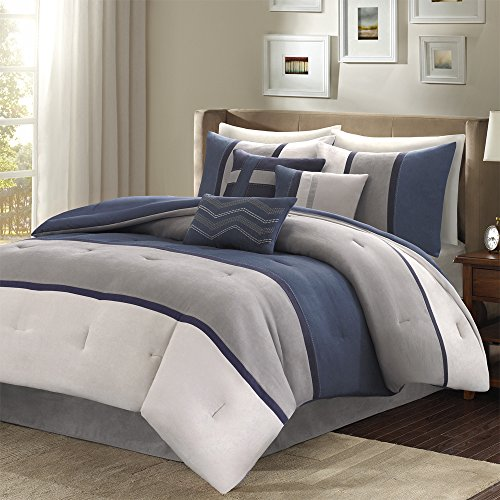 Comforter Palisades Set (Madison Park Stylish Premium Quality Palisades 7 Piece Blue Comforter Set California King Size, 1 comforter, 2 shams, 1 bedskirt and 3 decorative pillows)