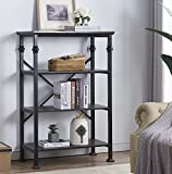 O&K Furniture 4-Tier Vintage Industrial Style Bookshelf, Wood and Metal Bookcase Storage Shelves, Black-Espresso