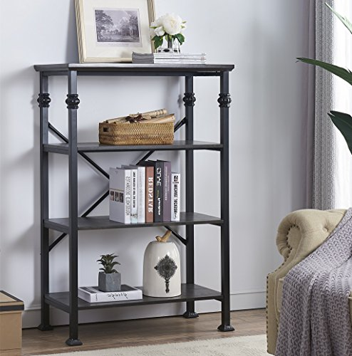 O&K Furniture 4-Tier Vintage Industrial Style Bookshelf, Wood and Metal Bookcase Storage Shelves, Black-Espresso (4 Shelf Black Metal Bookcase)
