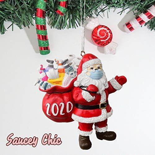 2020 Christmas Ornament Flat Santa Wearing/_Mask in Quarantine Keepsake Unique