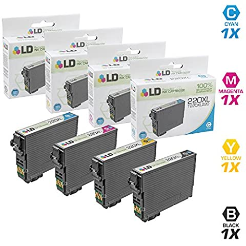 LD © Remanufactured Epson 220 / 220XL Set of 4 HY Ink Cartridges: Black, Cyan, Magenta & Yellow for Expression XP-320, XP-420, XP-424 & WorkForce WF-2630, WF-2650, WF-2660, WF-2750, (Epson 220xl Cartridges)