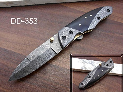 """8"""" long Folding Knife with pocket clip, Hand forged Damascus steel 3.5"""" blade. Rose Wood scale with Damascus Bolster, Cow hide Leather sheath included with belt loop (Bull Horn)"""