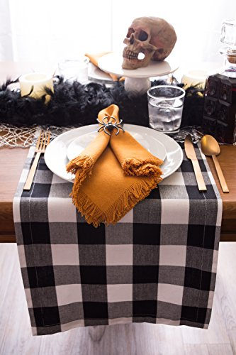 DII Classic Buffalo Check Tabletop Collection for Family Dinners, Special Occasions, Barbeques, Picnics and Everyday Use, 100% Cotton, Machine Washable, Table Runner, 14x72, Black & White