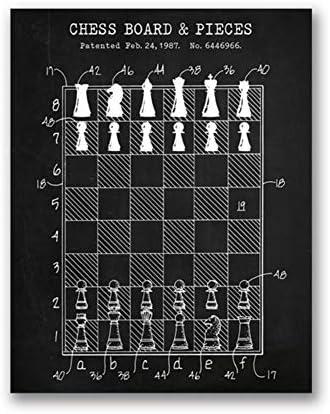 50x70cm ungerahmt Non-branded artaslf Schachmeister Geschenk Schachbrett Patent Leinwand Poster Gaming Wandkunst Gem/älde Druck Schach Club Dekoration Bild Spielzimmer Dekor