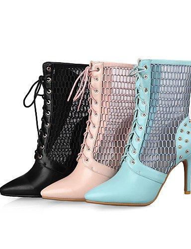 XZZ  Damenschuhe - Stiefel - Büro   Kleid Kleid Kleid   Lässig - Kunstleder - Stöckelabsatz - Spitzschuh   Modische Stiefel - Schwarz   Blau   Rosa 2c45df